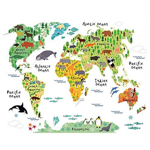 Winhappyhome Animal World Mappa Kids Wall Stickers per Bambini Camera da Letto Soggiorno Nursery Sfondo Sticker Decor Decalcomanie Smontabili