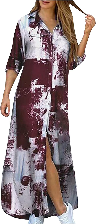 Sun Dresses Women Summer 's Casual V-Neck Color Matching Button Pocket Long-Sleeve Shirt Long Dress Casual Sexy Boho