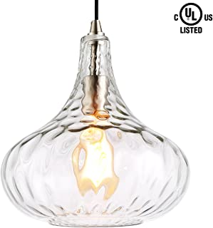HOMIFORCE Modern Style 1-Light Water Glass Pendant Lighting with Hand Blown Glass Shade in Modern Industrial Edison Style Hanging CL2017039 (Virgo Glass)