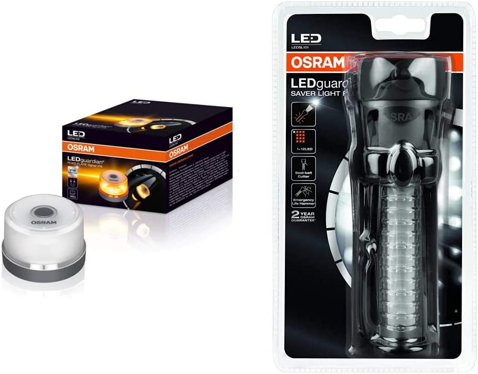 OSRAM LEDguardian ROAD FLARE señal V16, luz de advertencia para coches, luz de avería + Saver Light Plus Linterna Multifunciona