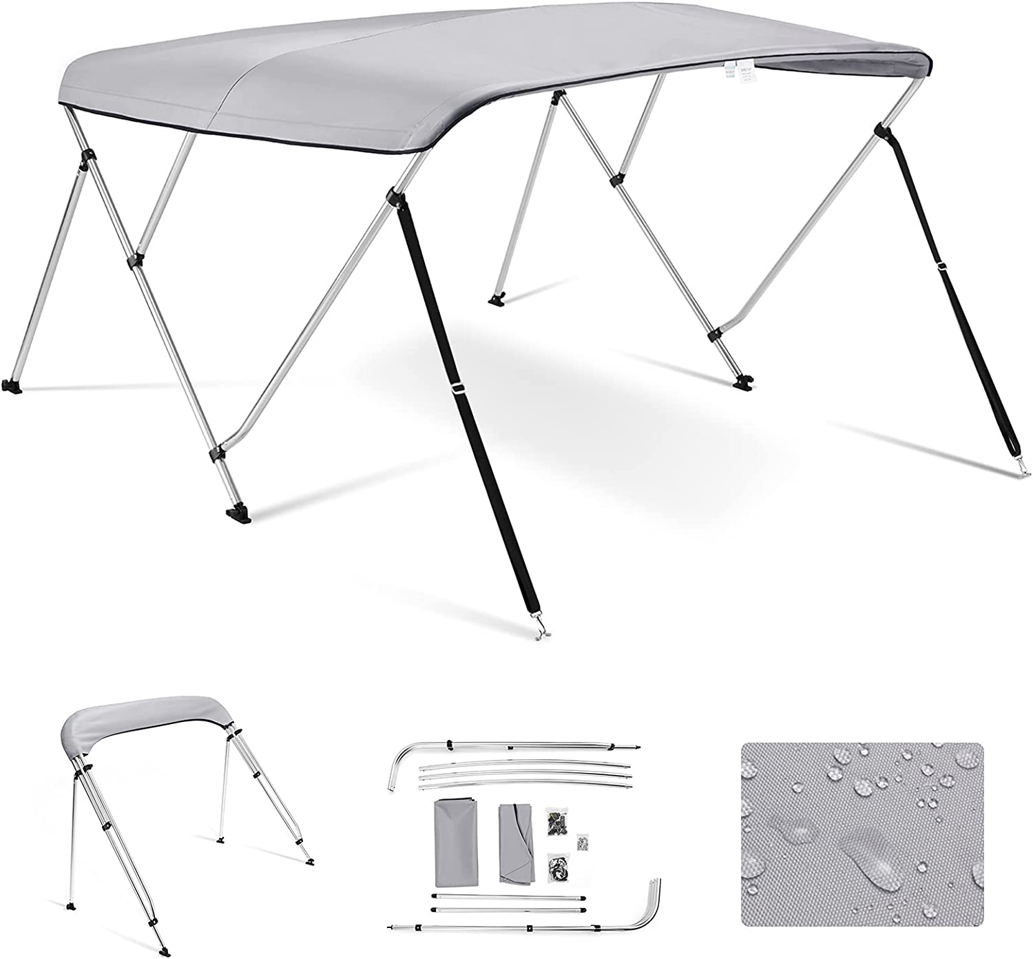 Kohree 3 Bow Indefinitely Bimini Top Boat with Su Canopy Max 44% OFF Stainless Cover Rear