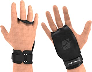 ProFitness Leather Cross Training Grips - Non Slip, High Grip Palm Protection from Rips & Tears with Wrist Support for Pull Ups, Kettlebells