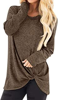 Women Fashion Loose Long Sleeve O-Neck Tops Casual Solid T-Shirt Blouse