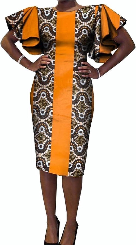Coolred Women's Flouncing Cotton Dashiki Africa Bodycon OL Evening Party Dress