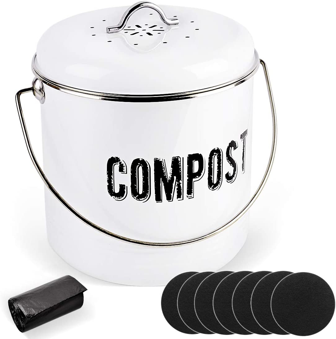 Kitchen Compost Bin with 7 Charcoal Filters and 50 Recycled Trash Bags, 1.3 Gallon Compost Bucket, Rustic Farmhouse Composting Container for Kitchen Counter