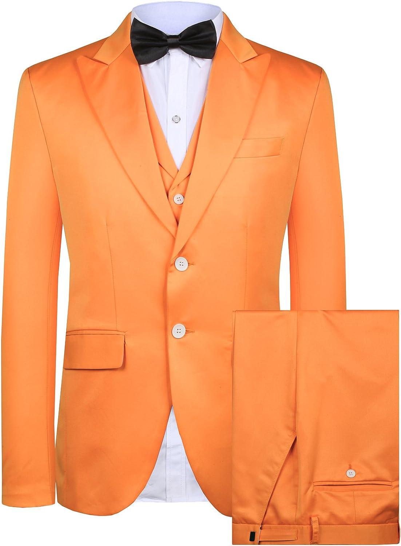 Hanayome Men's 3 pc Suit Modern Fit Solid Color Notched Lapel Blazer Suit Pants Set