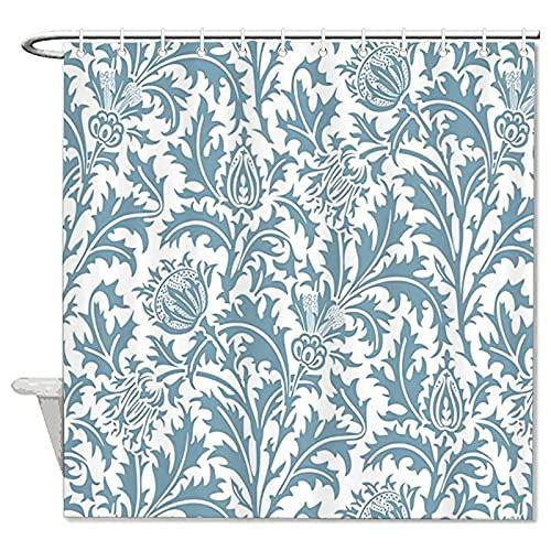 DKISEE William Morris Duschvorhang, Distel-Muster, dekorativer Stoff, mit Haken, 152,4 x 182,9 cm, Blaugrün