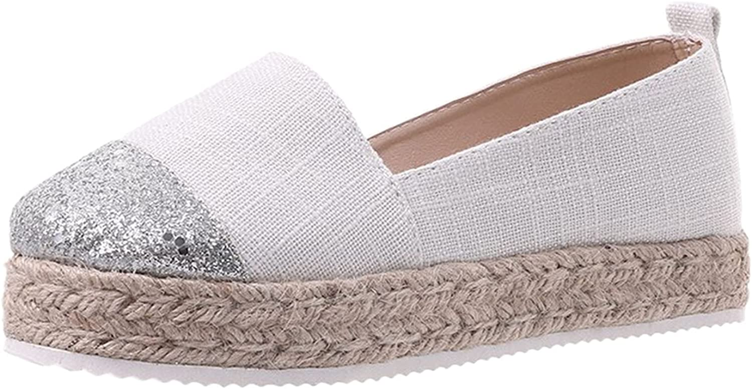 LLXIAO Women's Slip on Canvas Shoes Solid Color Comfort Loafers Casual Light Weight Outdoor Shoes Hemp Rope Woven Platform Shoes