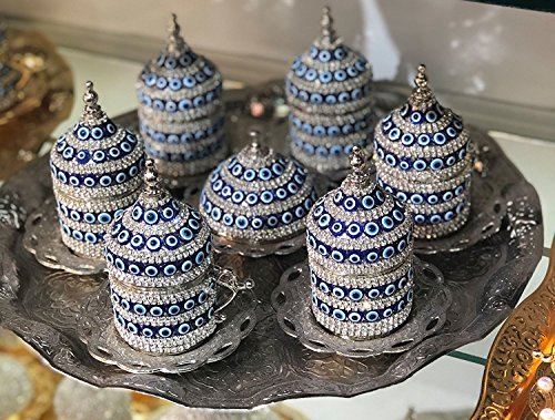 27 Pc Ottoman Turkish Greek Arabic Coffee Espresso Serving Cup Saucer (Evil Eye) … (Silver)