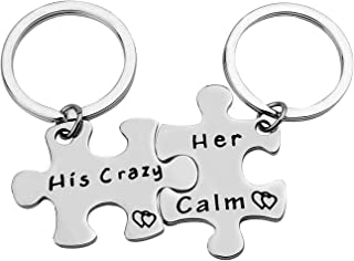 His Crazy Her Calm Couples Gift Keychain Set His and Hers Gift Couple Gifts for Boyfriend Girlfriend Keychain Husband Wife...