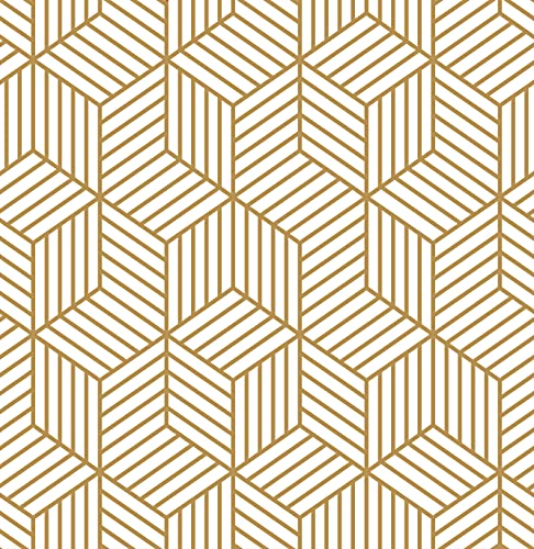 17.7'X118.1'Peel and Stick Wallpaper Self Adhesive Removable Wallpaper Gold and...