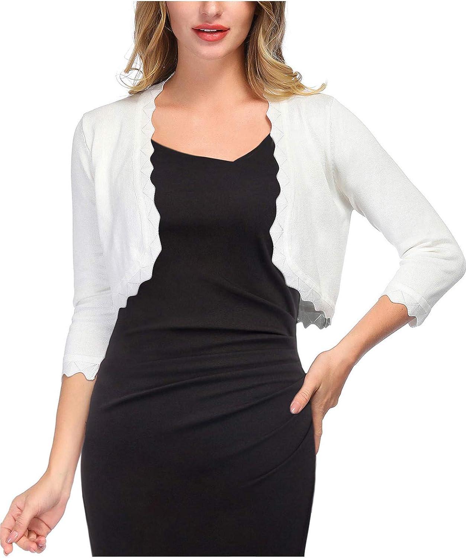 KANCY KOLE Women's 3/4 Sleeve Shrug Cardigan Knit Open Front Cropped Bolero Sweater S-XXL