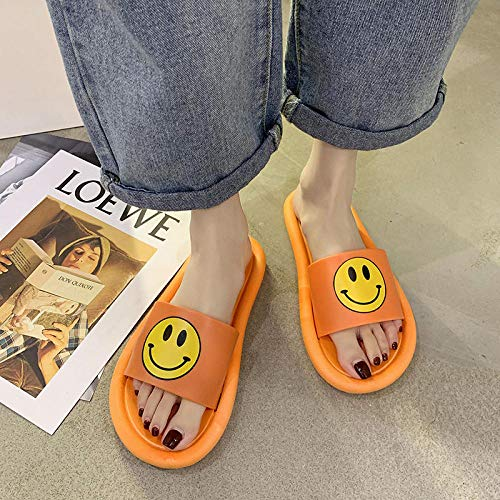 ZUOX Herren/Damen Badelatschen,Tragen Sie rutschfeste Hausschuhe, modische Damen Sandalen mit weichem Boden-Orange_36,Sommer zu Hause Hausschuhe