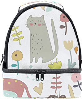 Mydaily Kids Lunch Box Cute Cartoon Kitten Flower Reusable Insulated School Lunch Tote Bag