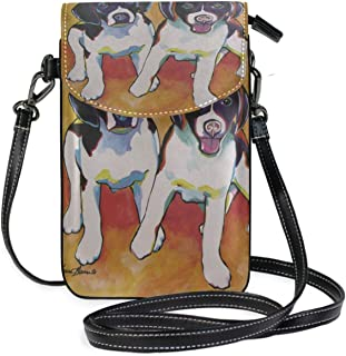 LORONA Two Dachshund Dogs Painting Cell Phone Purse Wallet for Women Girl Small Crossbody Purse Bags