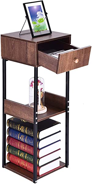 Lookvv American Heritage 3 Tier End Side Table Bedside Table With 1 Drawer Double Shelves Nightstand