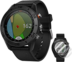 Garmin Approach S60 Golf Watch Black with Black Band (010-01702-00) + Deco Essentials Approach S60 Screen Protector 2 Pack