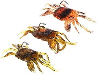 Ruosaren 5 Pack Simulated Crab Baits Artificial Fishing Lures Tackle Baits Sharp Hook Lures Soft Plastic Fishing Crankbaits, Random Color(Brown Green Orange)