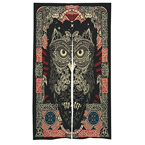 C COABALLA Japanese Noren Hanging Doorway Curtain Celtic Owl for Living Room Kitchen Party W33.5 x L59 No003675
