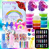 Unicorn Slime Kit for Girls - Slime for Girls, Fluffy Premade Slime with Unicorn Slime Charms, Glitter, DIY Pink, Toys, Gifts for 6 7 8 9 10 11 12 Year Old. Slime Making Kit & Slime Accessories.