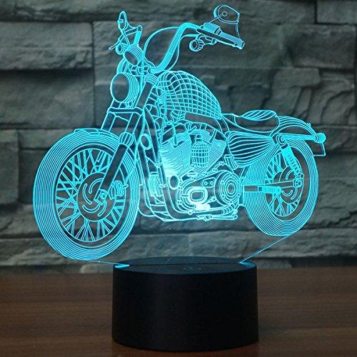 CooPark Neuheit 3D Illusionslampen MTB Motocross Bike LED Nachtlichter USB 16 Farben Sensor Schreibtischlampe für Outdoor Sports Lover Collection präsentiert