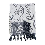 C&F Home Chenille Anchor Nautical Sailing Reversible Handcrafted Throw Blanket with Fringe Cotton Soft Cozy for Couch Sofa 50x60 inches Blue, Navy, Navy Blue, White
