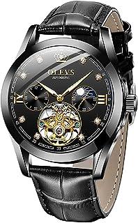 Men Watch Tourbillon Automatic Self Wind Watch Mechanical Classic Hollow Waterproof Luminous Leather Band Wrist Watch