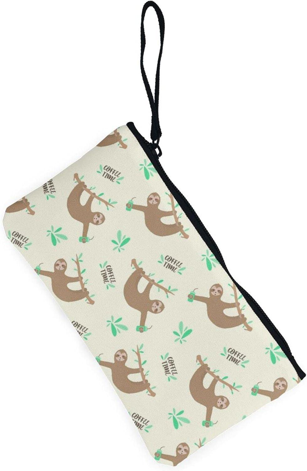 AORRUAM Cute Sloth Canvas Coin Purse,Canvas Zipper Pencil Cases,Canvas Change Purse Pouch Mini Wallet Coin Bag