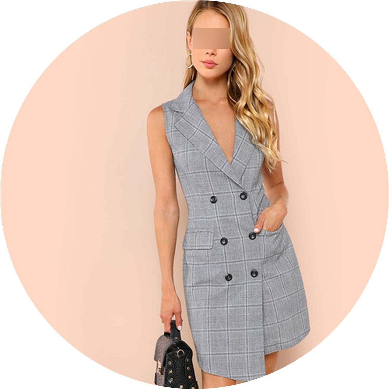White Island Elegant Notch Collar Double Breasted Surplice Wrap Dress Slim Women Dresses