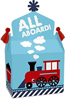 Big Dot of Happiness Railroad Party Crossing - Treat Box Party Favors - Steam Train Birthday Party or Baby Shower Goodie Gable Boxes - Set of 12