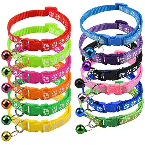 Jinlaili 12 Piezas Collar para Mascotas con Campanas, Collar Gato Reflectante Ajustable, Vistoso Collares para Gatos con Cascabeles y Hebilla Seguro de Liberación Rápida para Gatos y Cachorros