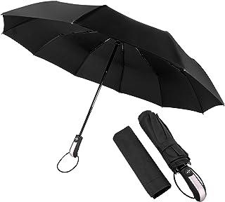 Salandens Paraguas Plegable, paraguas con 10 varillas, Sombrilla para protección UV, Paraguas para lluvia Anti-Viento Fáci...