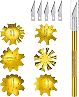 6 stuks Franse nageltrimmer, roestvrij staal Franse tip snijders smile lijn cutter edge manicure diy plaat module met 2 ha...