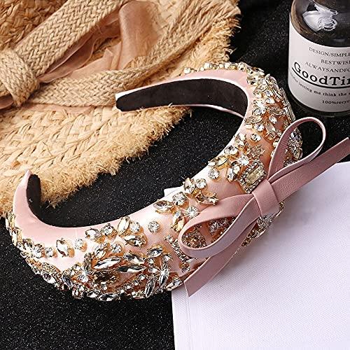 XKMY Diadema barroca con diamantes de imitación de cristal, para fiestas, baile, corona, lazo, turbante, tocado (color: rosa)