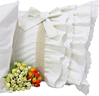 Queen's House Off White Lace Ruffle Pillow Cases Shams Standard Set of 2-B