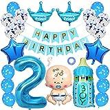 Ceqiny 2 Geburtstag Dekoration Happy Birthday Banner Alles Gute zum Geburtstag Banner Konfetti Helium Latex Stern Folieballon Happy Birthday Prince Baby Flaschen Luftballons für Kinder Jungen, Blau