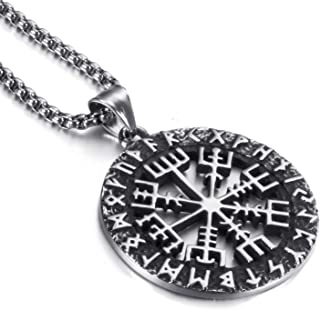 Elfasio Mens Stainless Steel Pendant Chain Viking Valknut Pirate Compass Necklace Jewelry 18-30inch