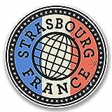 2x 10cm Strasbourg France Sticker en vinyle pour ordinateur portable de Voyage bagages étiquette étiquette # 9848 - 10cm Wide x 10cm High