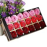 TININNA 18 Stück Handgefertigt Rose Blume Rosen-Duftseifen in Geschenk-Box Hochzeit Rot EINWEG...