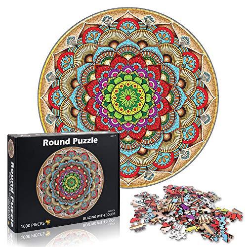 Puzzle Redondo 1000 Piezas,Puzzle Difícil y desafiante, Grande Educativo El Alivio del Estrés Juguete Relajante Juego Divertido para Adultos Niños (Flor de la Suerte)