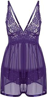Women Lace Babydoll Lingerie Set Sheer Mesh Chemise Open Back Sleepwear
