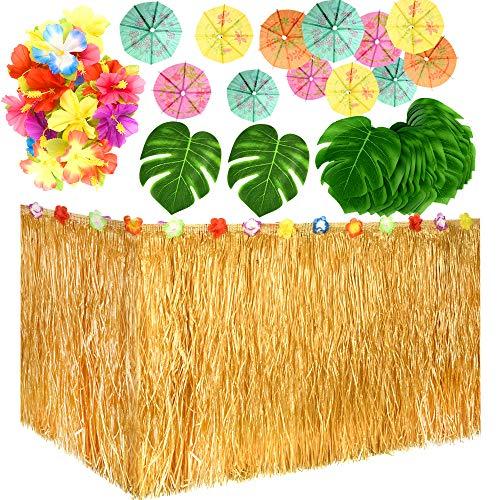 TUPARKA 149 Pcs Hawaiano Tropical del Partido Decoración Set con 9 pies de Hawai Hierba Tabla Falda, Hojas Tropicales, Hawaiano Flores y Selecciones de Paraguas para Jungle Beach Aloha Luau temático