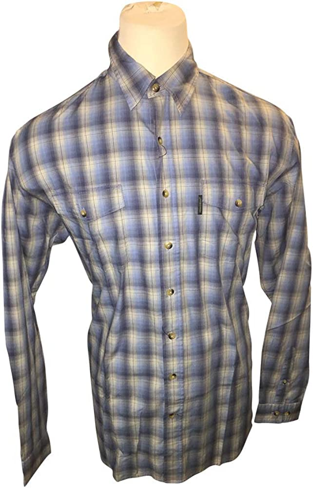 Big and Tall All Cotton Field and Stream Casual Blue Plaid Shirt to 6X