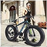 Visdron Mens Fat Tire Bike, 21 Speed Tolan Disc Brake/MTB Break Lever Bicycle, 26 Inch 4.0 Anti-Slip Fat Tire Bike, High-Tensile Aluminum Frame Suspension Fork Bicycle for Man Woman (Blue)