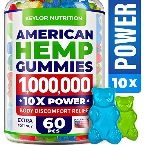 KEYLOR NUTRITION Premium Hemp Gummies 1,000,000 – All Natural Ingredients - Relief for Stress, Inflammation, Sleep, Anxiety, Depression – Vitamins & Omega 3,6,9 – Made in The USA - 60 pcs