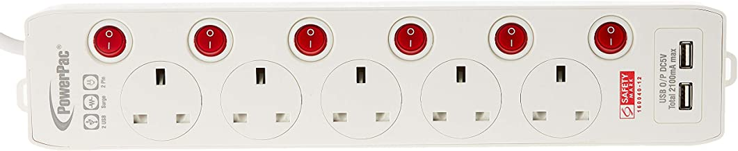 PowerPac PP135U 5W Extension Socket with 2XUSB, 2100 mA