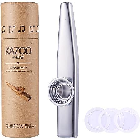 WANDIC Kazoo, Kazoo en alliage d'aluminium argenté et diaphragme de flûte à 3 membranes, bouche Kazoos avec boîte-cadeau Vintage