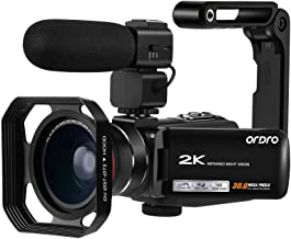 2K Camcorder Video Camera ORDRO Vlogging Camera for YouTube WiFi HD Video Camcorder IR Night Vision Digital Video Camera with External Microphone Wide Angle Lens and Camera Holder