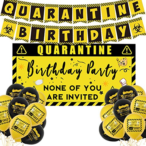 PatifyA Quarantine Birthday Party Decorations Happy Quarantine Birthday Banner Balloons Kit Bday Backdrop for Social Distancing Decor Stay at Home Party Supplies
