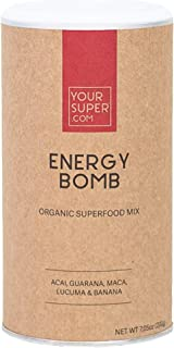 Energy Bomb Superfood Mix by Your Super | Plant-Based Energizing Powder | Coffee & Energy Drink Replacement | Essential Vitamins & Minerals | Non-GMO, Organic Ingredients